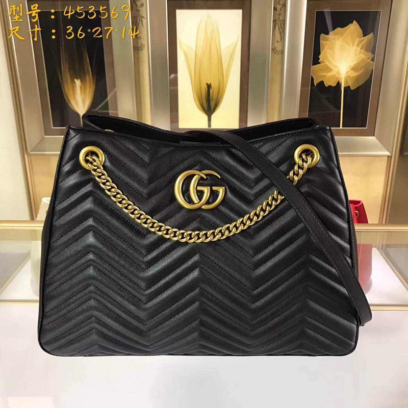 Gucci GG Marmont Matelasse Shoulder Bag 453569 Black