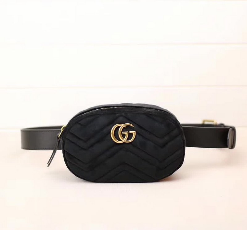 Gucci GG Marmont Matelasse Velvet Belt Bag 476434 Black