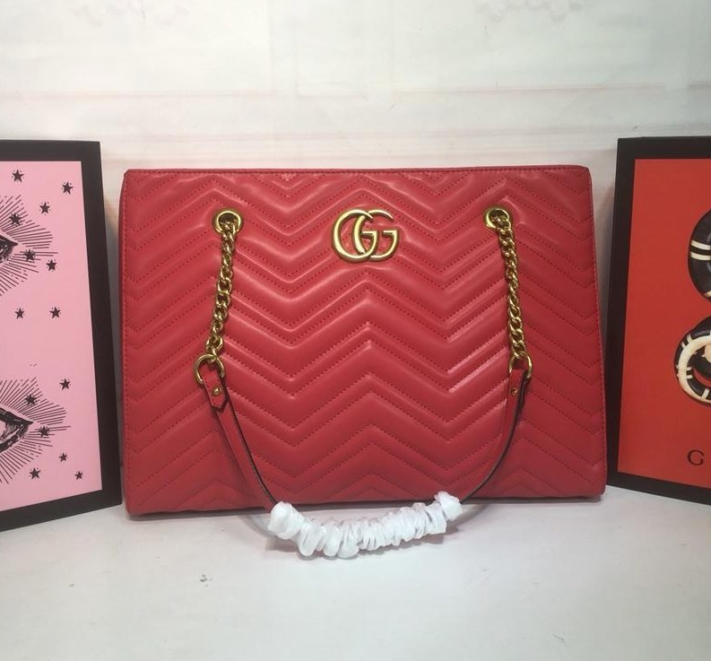b9a0328f9c5 Gucci GG Marmont Matelasse Medium Tote 524578 Red  524578 Red ...