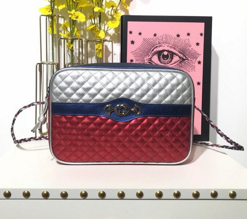Gucci Laminated Leather Small Shoulder Bag 541061 Silver and red