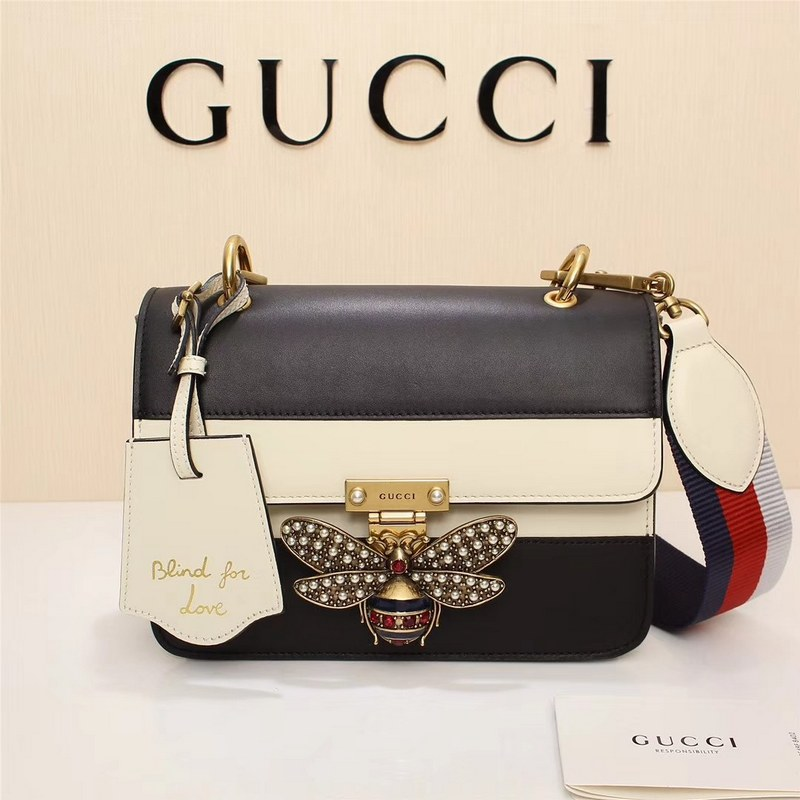Gucci Queen Margaret Small Shoulder Bag ‎476542 Black&White