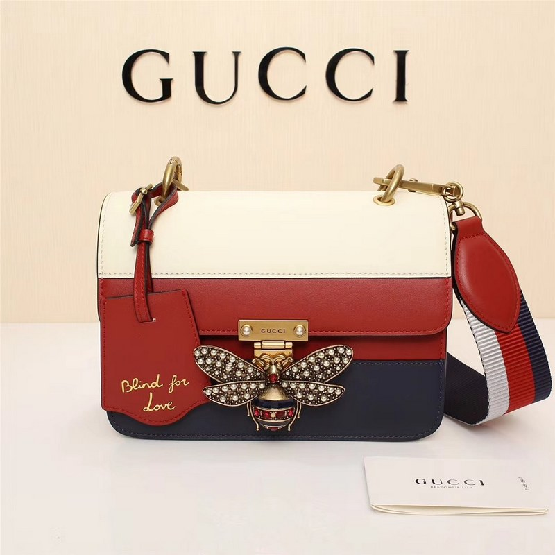 Gucci Queen Margaret Small Shoulder Bag ‎476542 Blue&Red&White