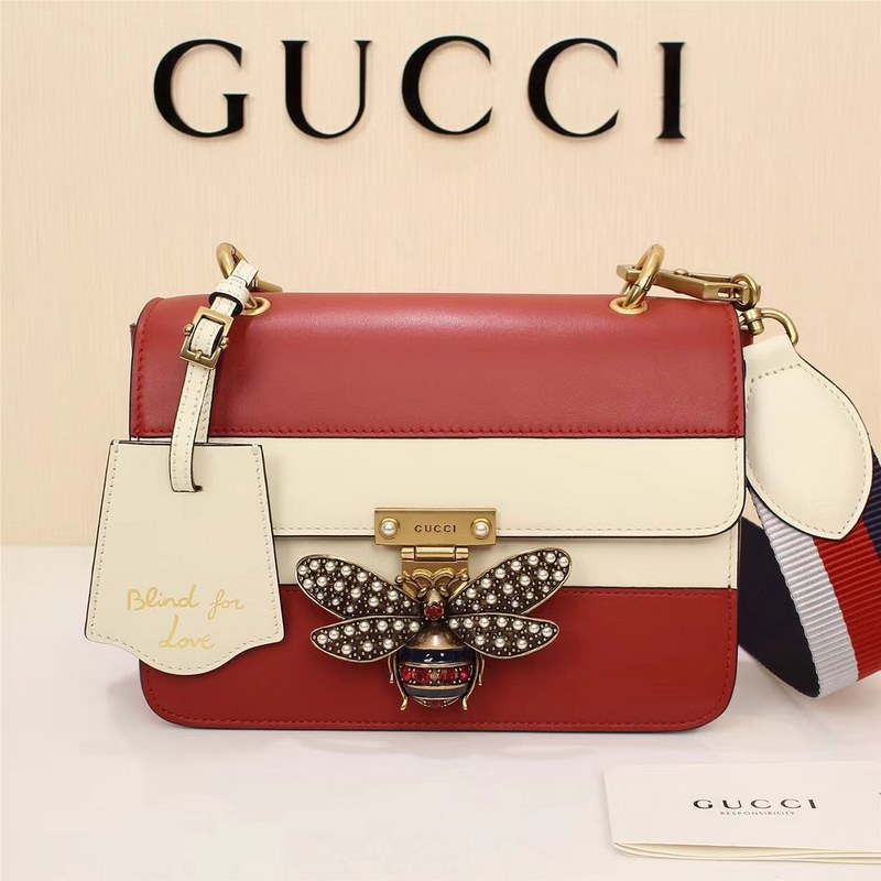 Gucci Queen Margaret Small Shoulder Bag ‎476542 Red&White