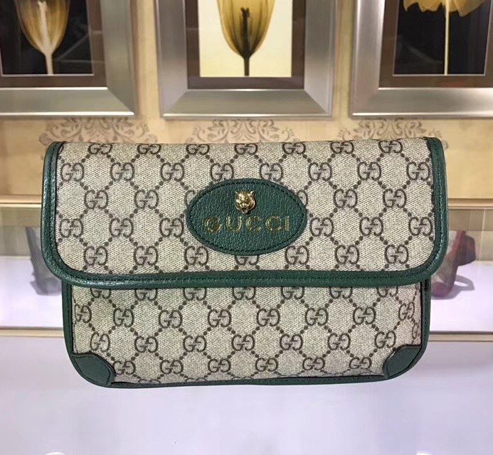 Gucci GG Supreme Belt Bag 493930 Green Leather