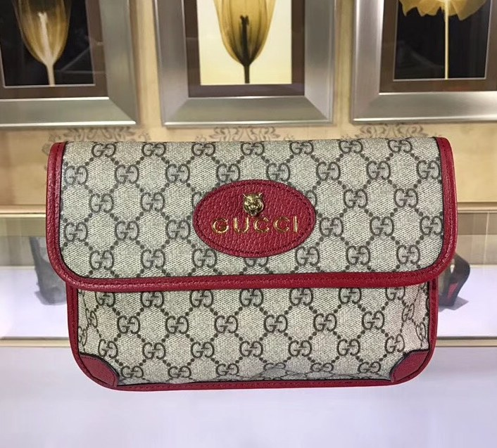 Gucci GG Supreme Belt Bag 493930 Red Leather