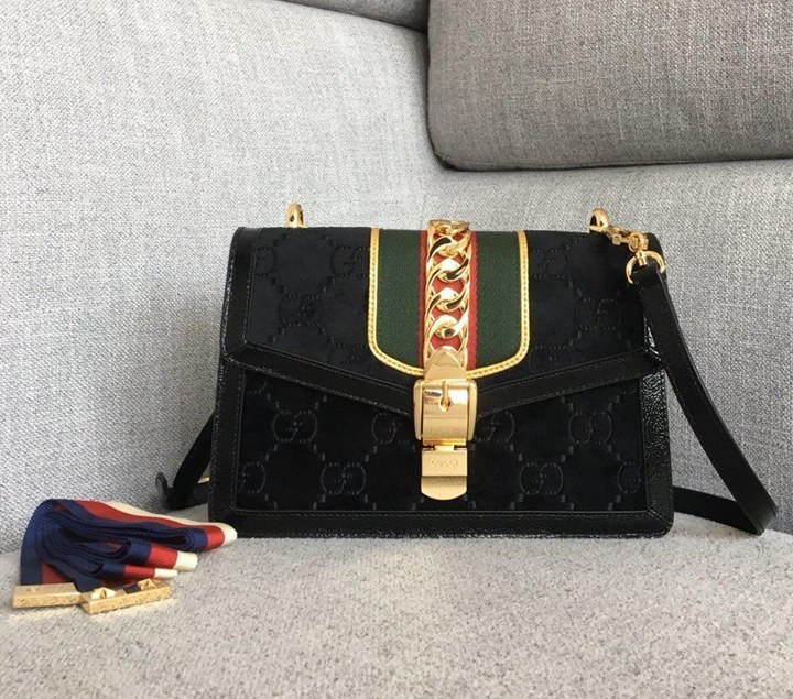 Gucci Sylvie GG Velvet Small Shoulder Bag 524405 Black