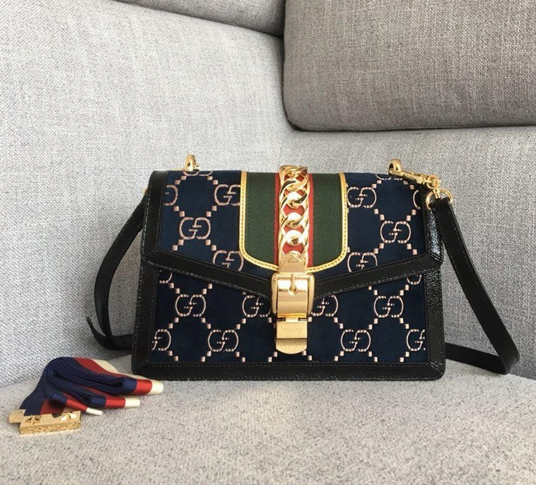 Gucci Sylvie GG Velvet Small Shoulder Bag 524405 Darkblue