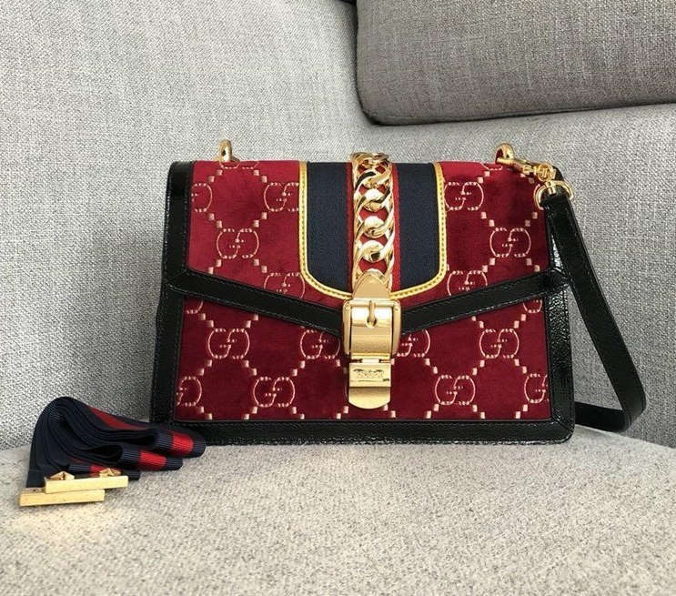 Gucci Sylvie GG Velvet Small Shoulder Bag 524405 Red