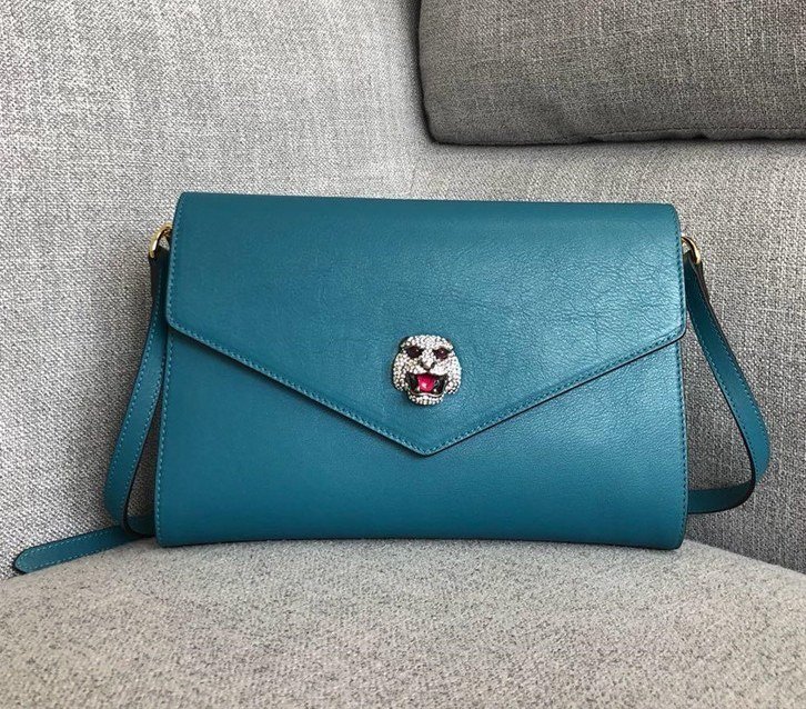 Gucci Calf Leather Medium Shoulder Bag 527857 Blue