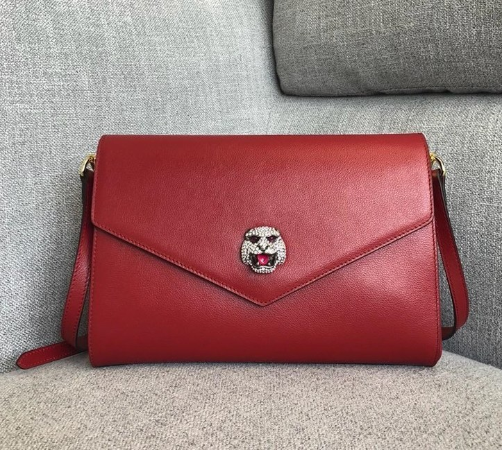 Gucci Calf Leather Medium Shoulder Bag 527857 Red