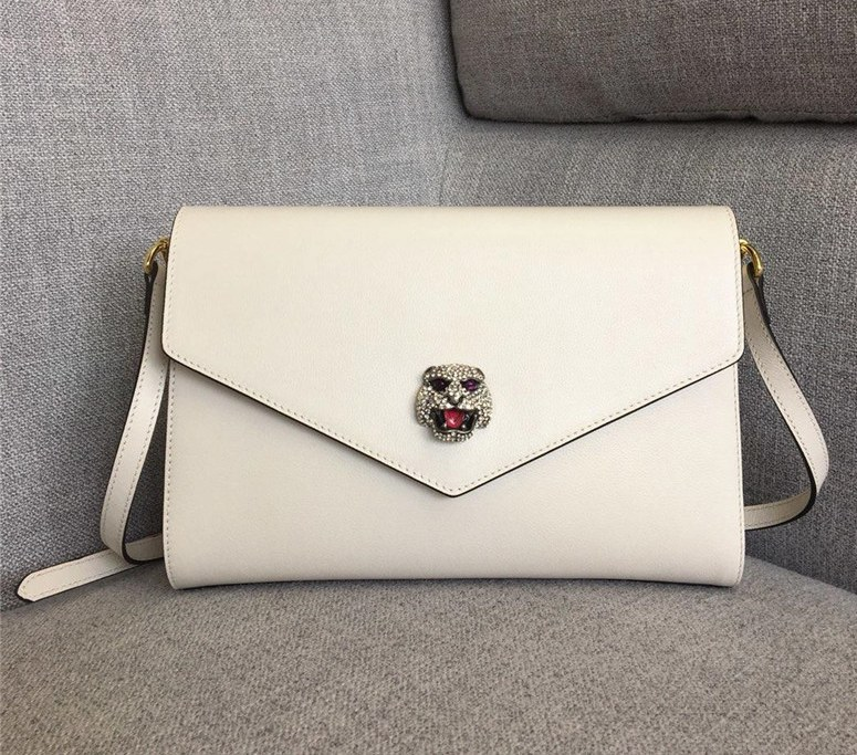 Gucci Calf Leather Medium Shoulder Bag 527857 White