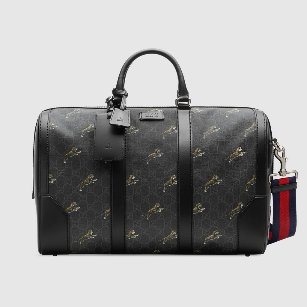 Gucci Soft GG Supreme Tigers Carry-on Duffle 474131 Black