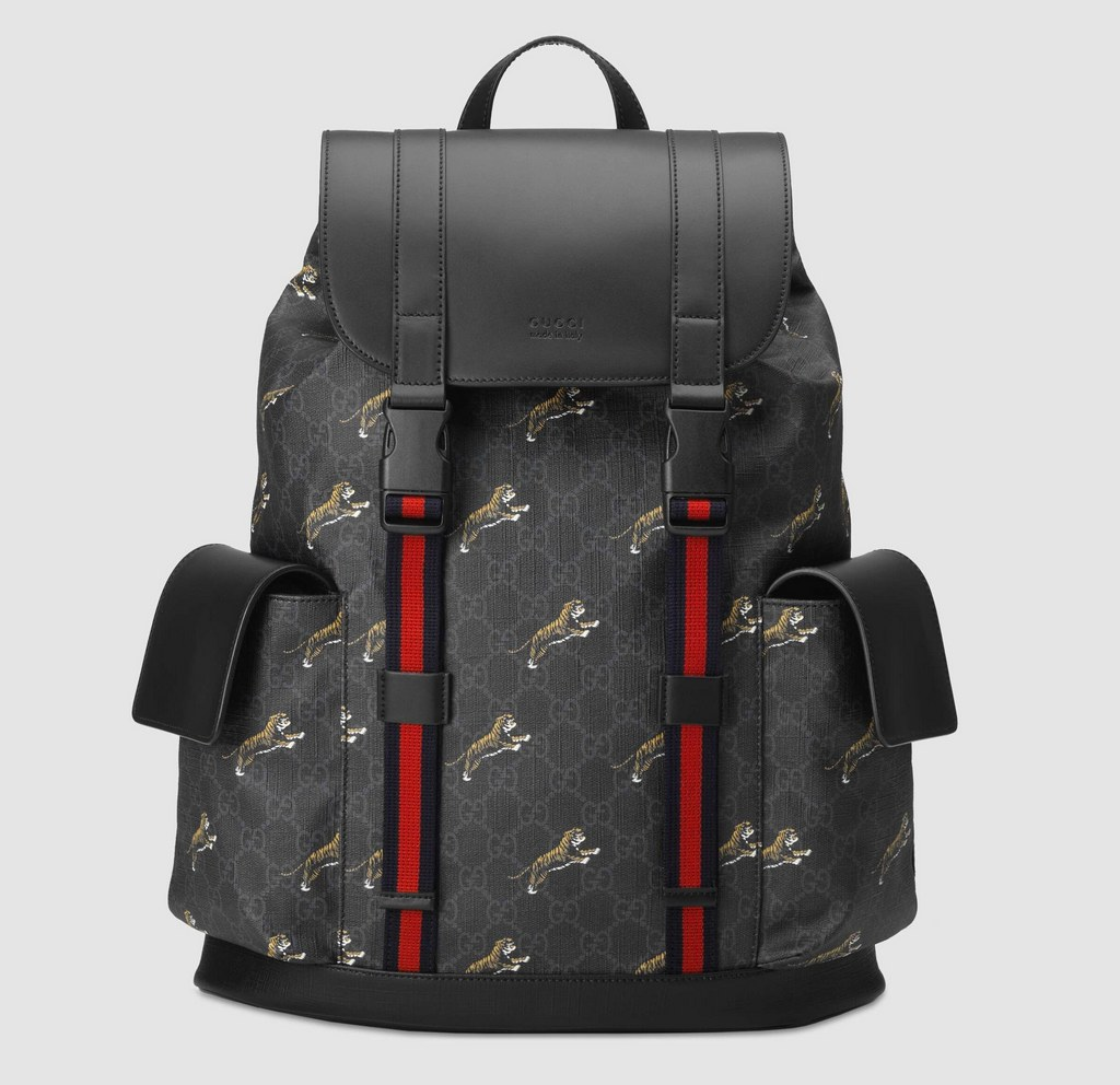 Gucci Soft Gg Supreme Tigers Backpack 495563 Black 495563