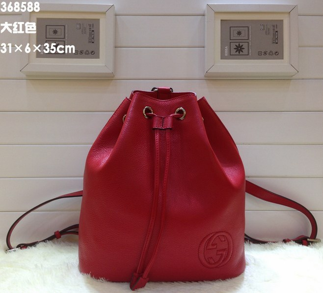 f3bb27869fa Gucci Soho Leather Drawstring Backpack 368588 Red  368588 Red ...