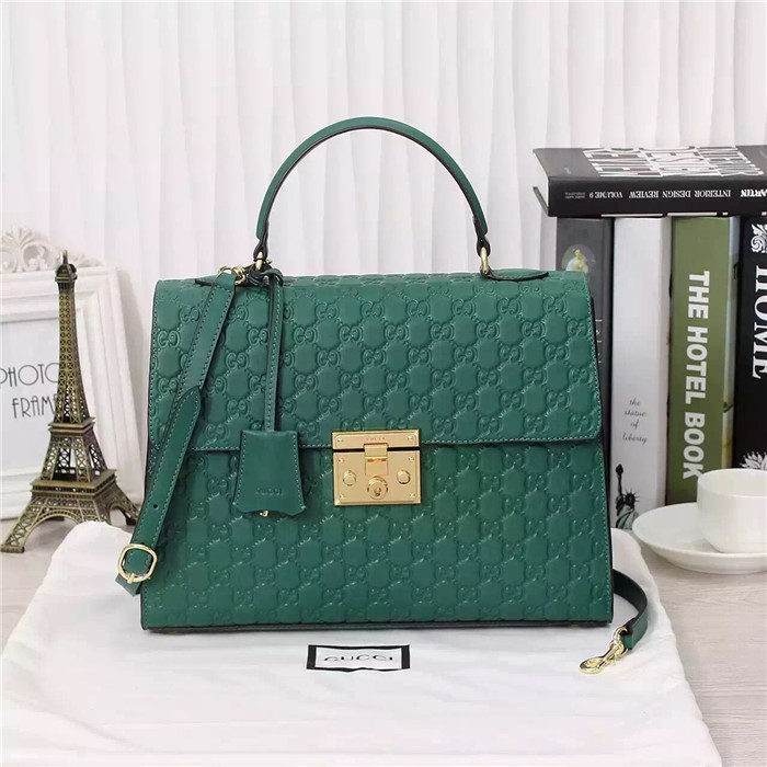 Gucci Padlock Gucci Signature Handle Bag 428208 Green