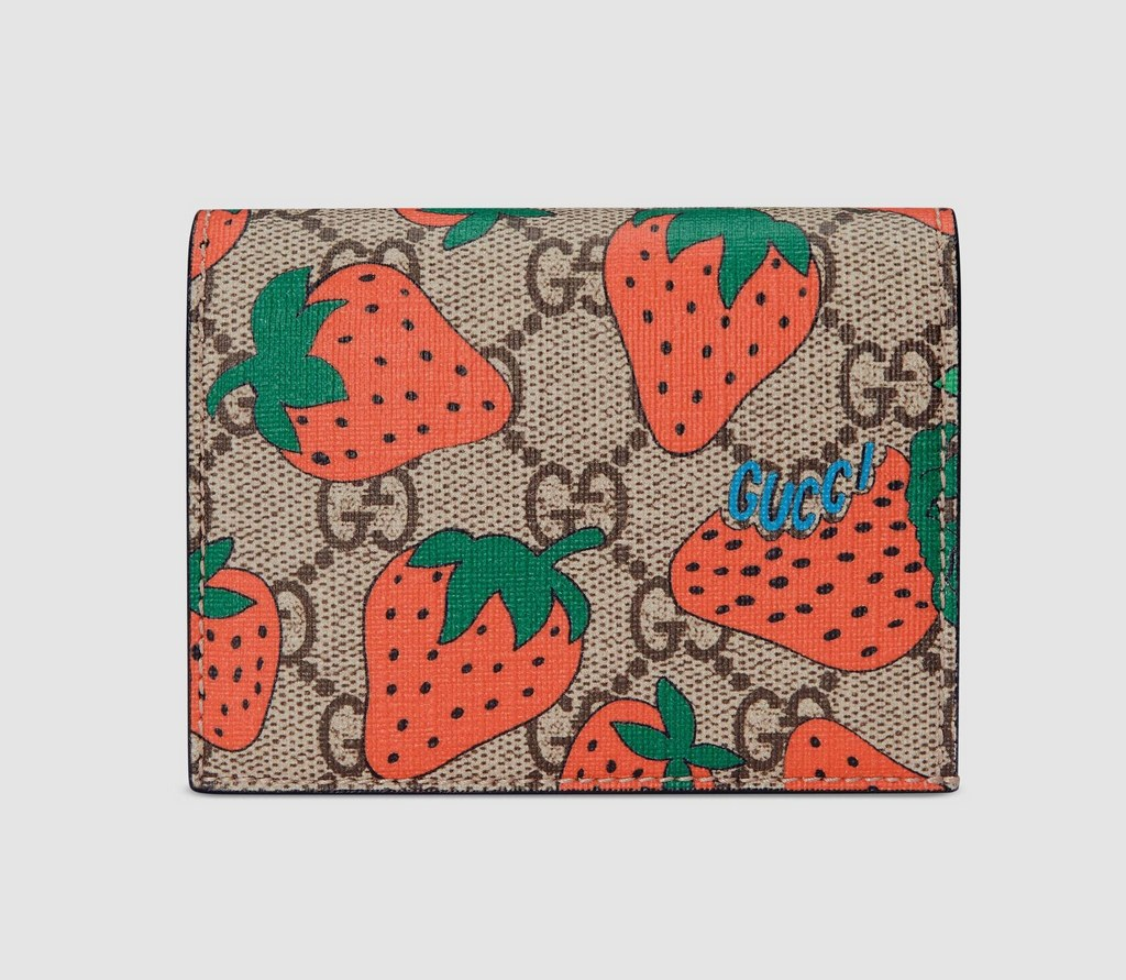 Gucci GG Gucci Strawberry Print Card Case Wallet 573839 Beige