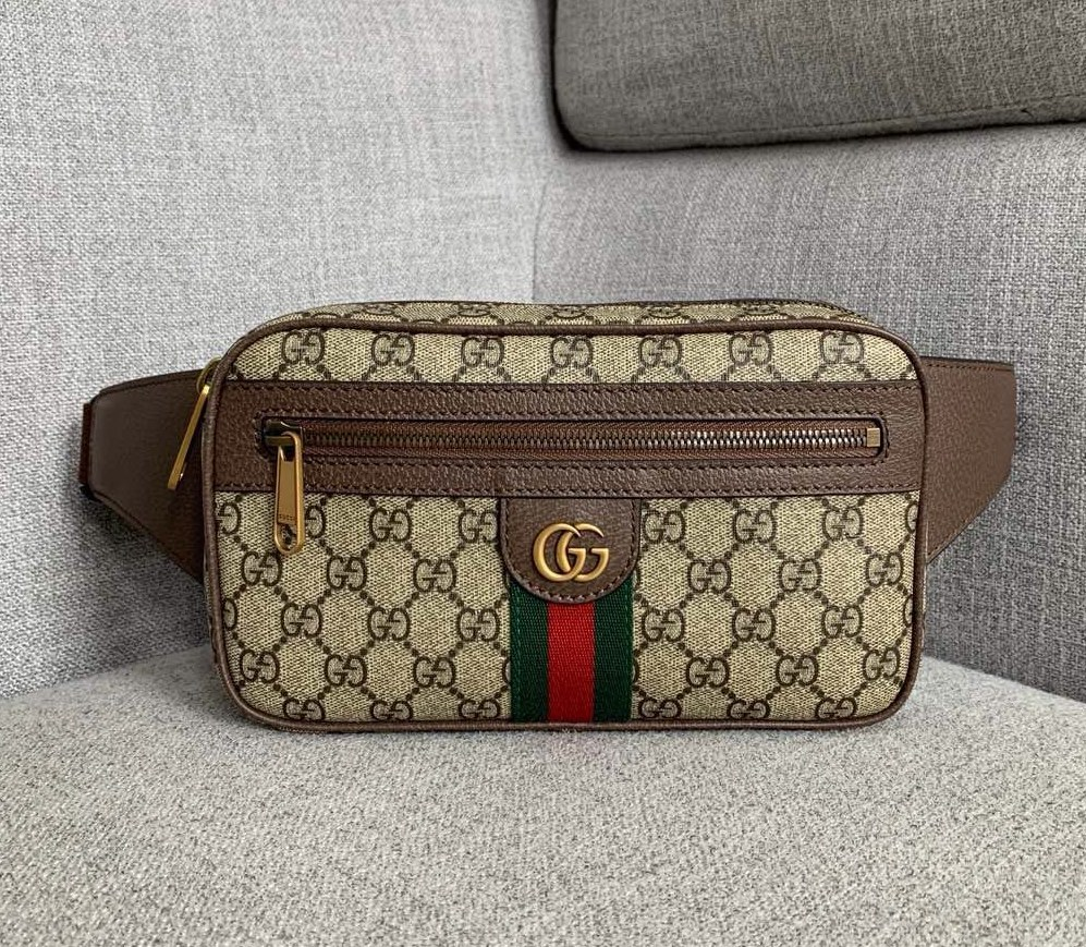 Gucci Ophidia GG Belt Bag 574796 Brown Leather