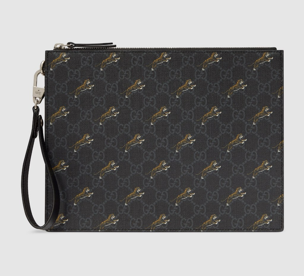 Gucci GG Pouch with Tiger Print 575136 Black