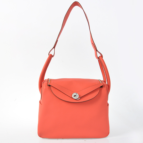 Hermes Lindy 30CM Togo Leather Bag H1057 Watermelon Red/Silver Hardware