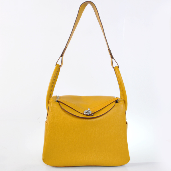 Hermes Lindy 30CM Togo Leather Bag H1057 Yellow/Silver Hardware
