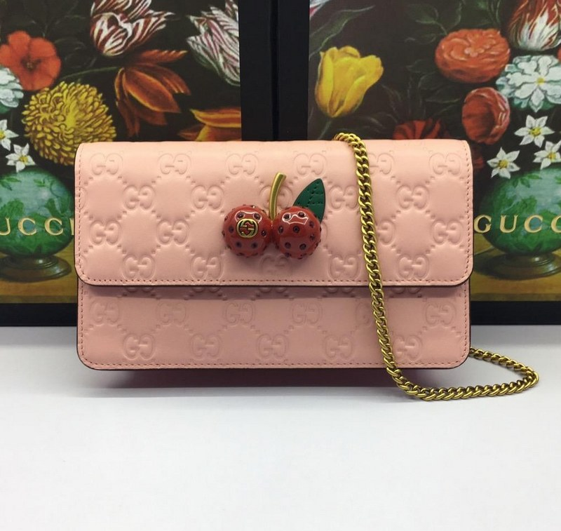 671242803e3 Gucci Signature with Cherries Mini Bag 481291 Pink  481291 Pink ...