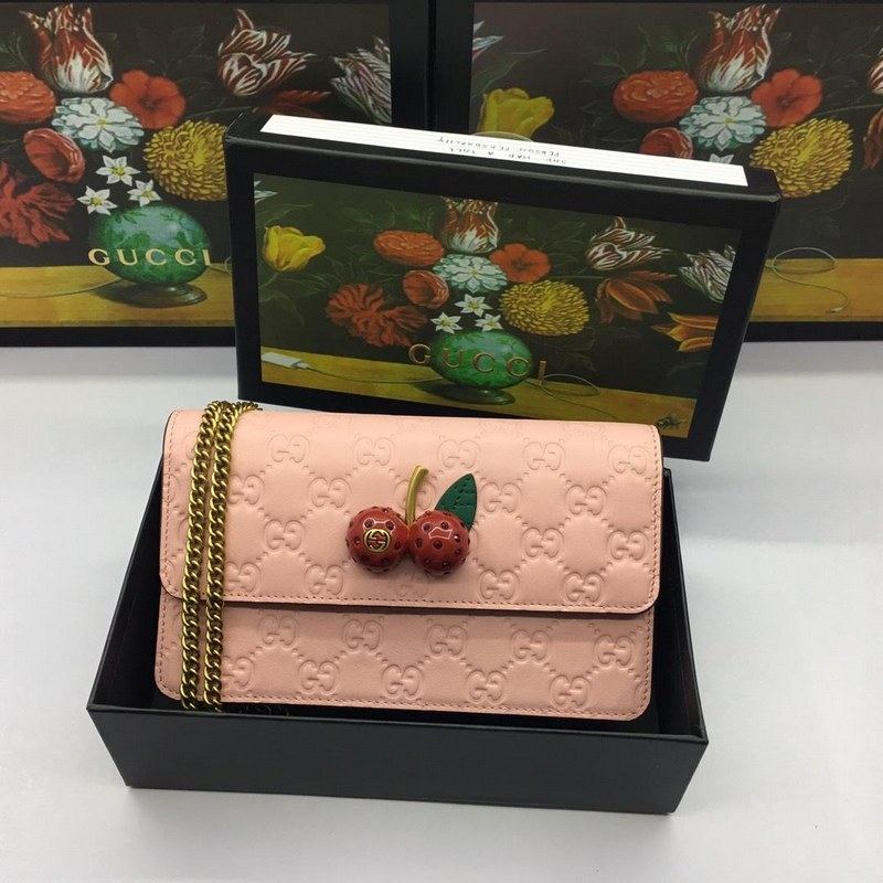 600e47af96c Gucci Signature with Cherries Mini Bag 481291 Pink  481291 Pink ...