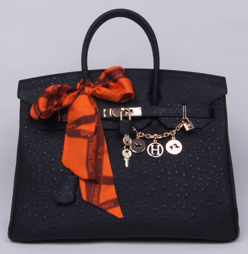 Authentic Hermes Birkin 35CM Ostrich Handbag 8999 Black(Gold Hardware)