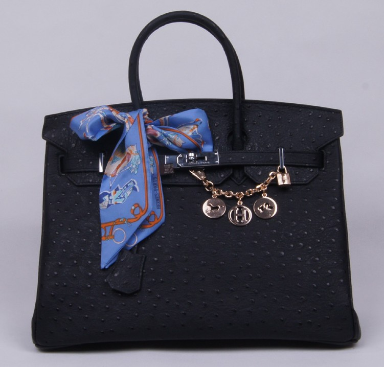 Authentic Hermes Birkin 35CM Ostrich Handbag 8999 Black(Silver Hardware)