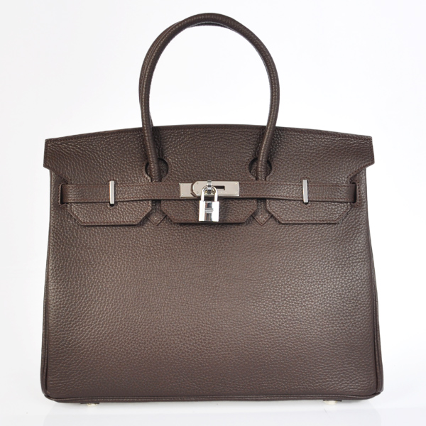 Hermes Birkin 35CM Togo Leather Bag 6089 Chocolate(Silver Hardware)