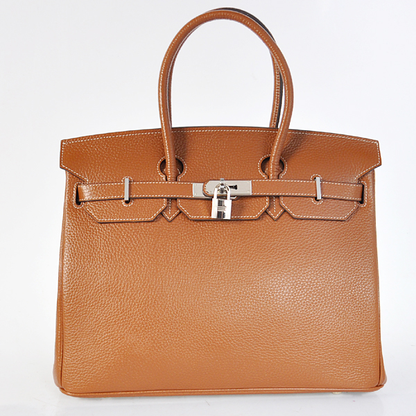 Hermes Birkin 35CM Togo Leather Bag 6089 Camel(Silver Hardware)