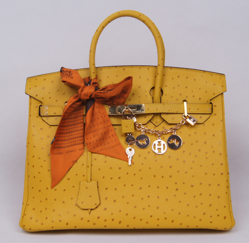 Authentic Hermes Birkin 35CM Ostrich Handbag 8999 Yellow(Gold Hardware)