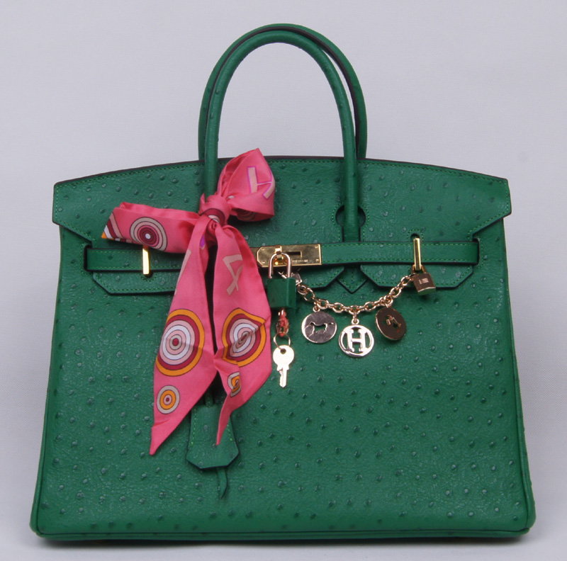 Authentic Hermes Birkin 35CM Ostrich Handbag 8999 Green(Gold Hardware)