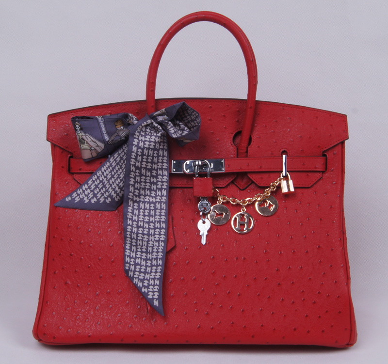 Authentic Hermes Birkin 35CM Ostrich Handbag 8999 Red(Gold Hardware)