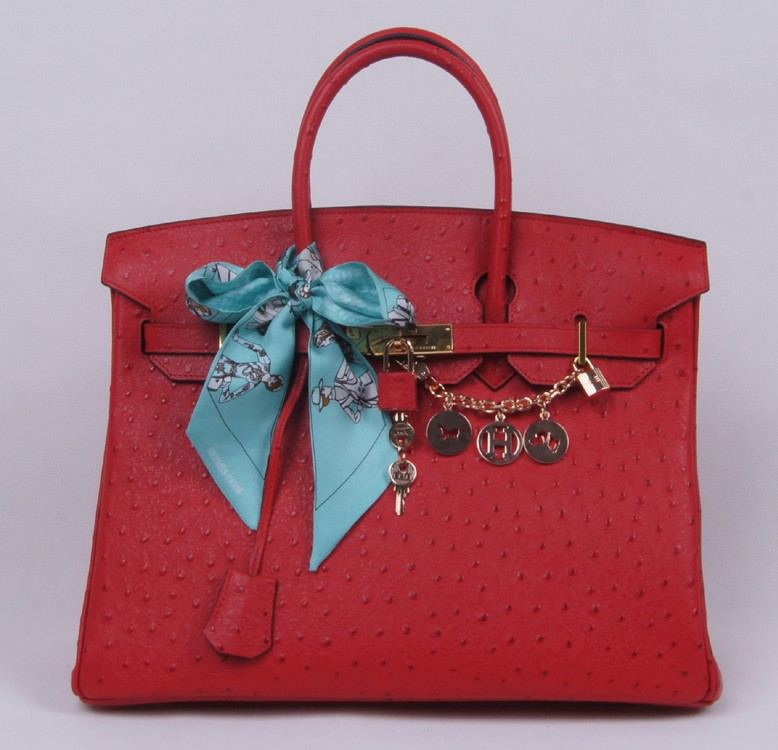 Authentic Hermes Birkin 35CM Ostrich Handbag 8999 Red(Silver Hardware)