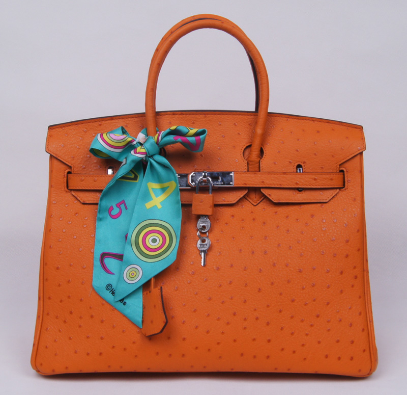 Authentic Hermes Birkin 35CM Ostrich Handbag 8999 Orange(Silver Hardware)