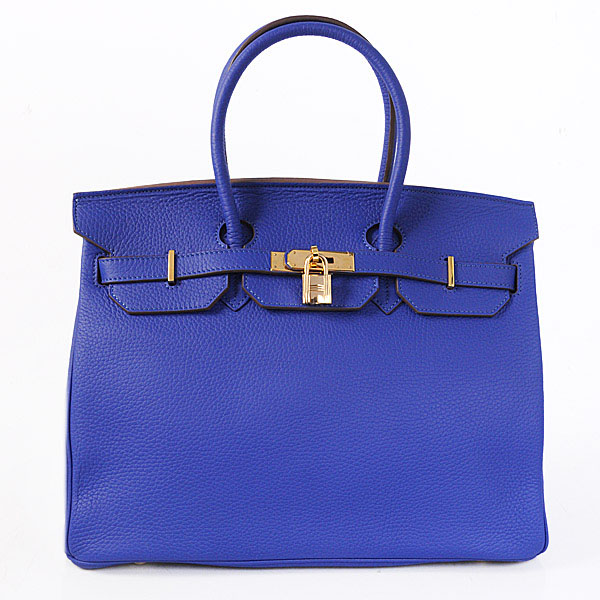 Authentic Hermes Birkin 35CM Togo Leather Bag H8998 Royalblue(Gold Hardware)