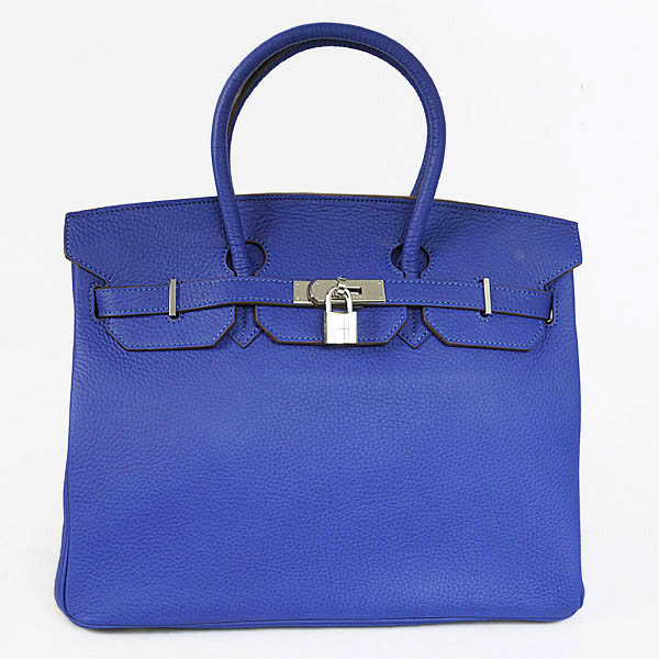 Authentic Hermes Birkin 35CM Togo Leather Bag H8998 Royalblue(Silver Hardware)
