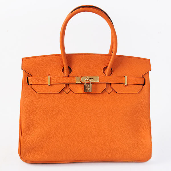 Authentic Hermes Birkin 35CM Togo Leather Bag H8998 Orange(Gold Hardware)