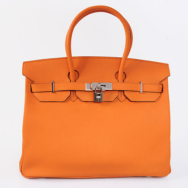 Authentic Hermes Birkin 35CM Togo Leather Bag H8998 Orange(Silver Hardware)