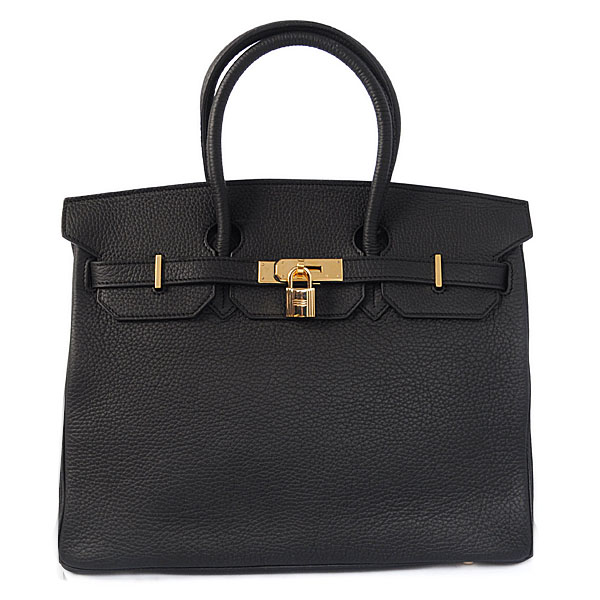 Authentic Hermes Birkin 35CM Togo Leather Bag H8998 Black(Gold Hardware)