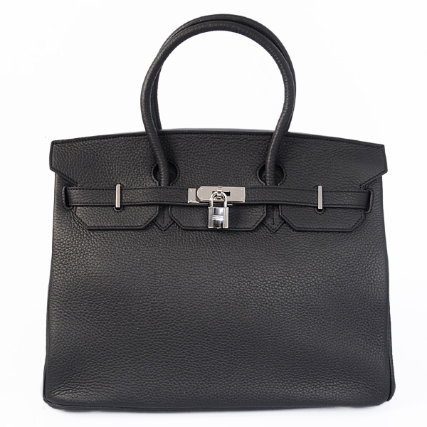 Authentic Hermes Birkin 35CM Togo Leather Bag H8998 Black(Silver Hardware)