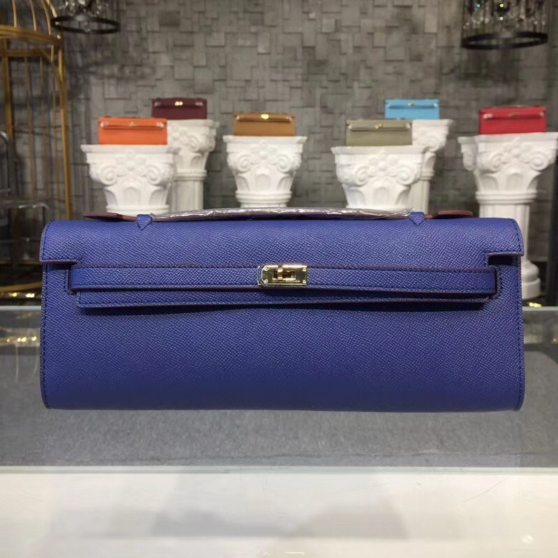 Hermes Kelly Cut 31CM Epsom Leather Clutch H8260 Blue