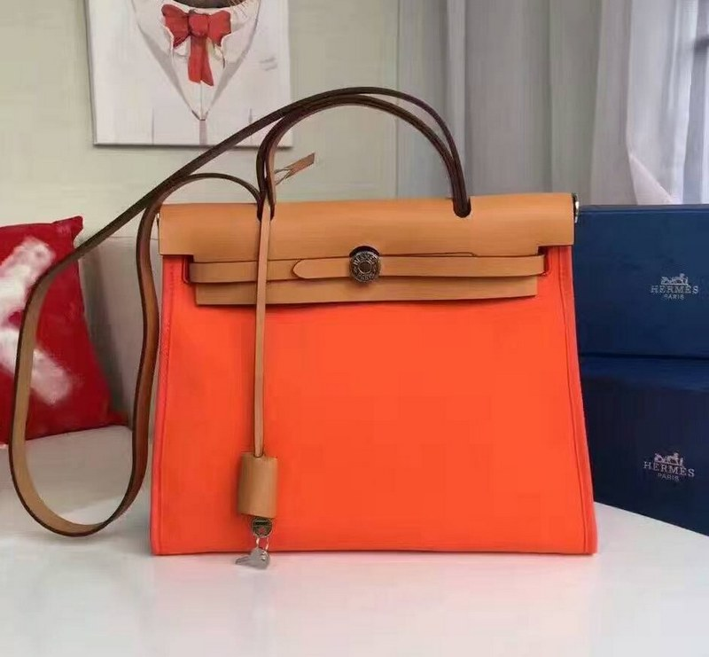 Hermes Herbag 31CM Calfskin Canvas Bag H1011 Orange