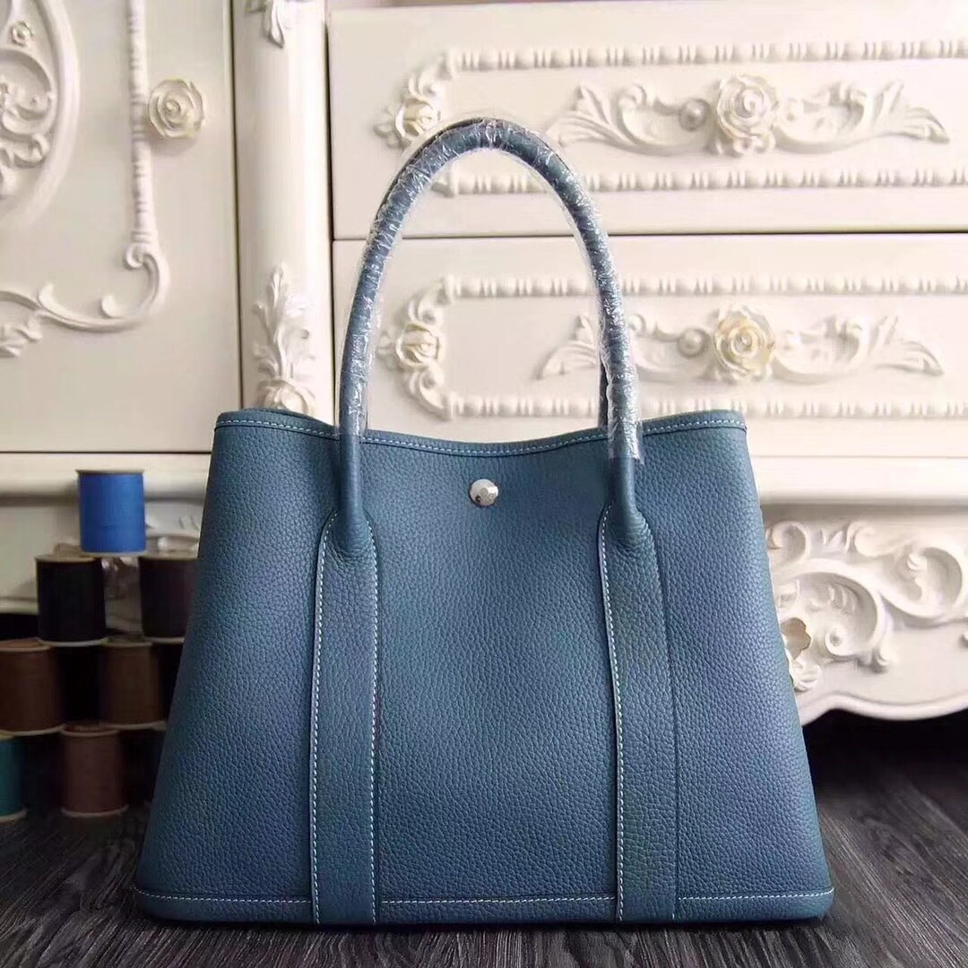 Hermes Garden Party 30 Bag H1689 Blue