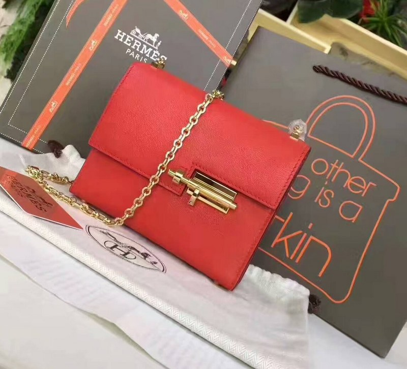 Hermes Verrou Chaine Clutch H1905 Red (Gold Chain)