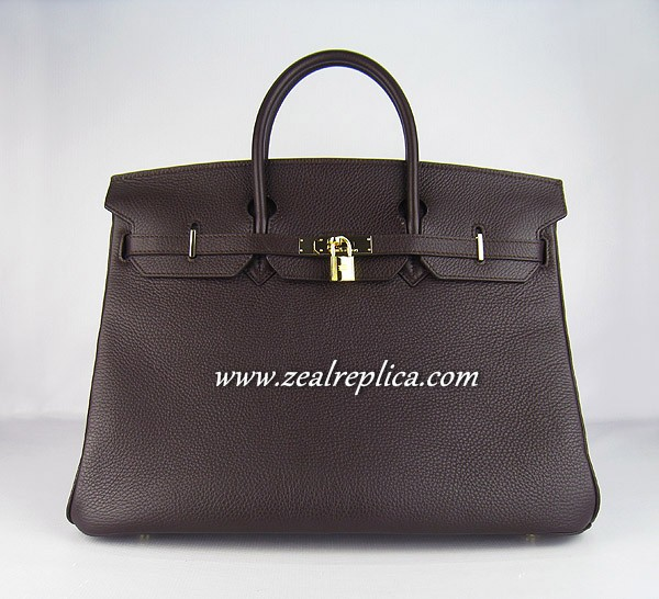 Hermes Birkin 40CM Golden Hardware Togo Bag 6099 Chocolate