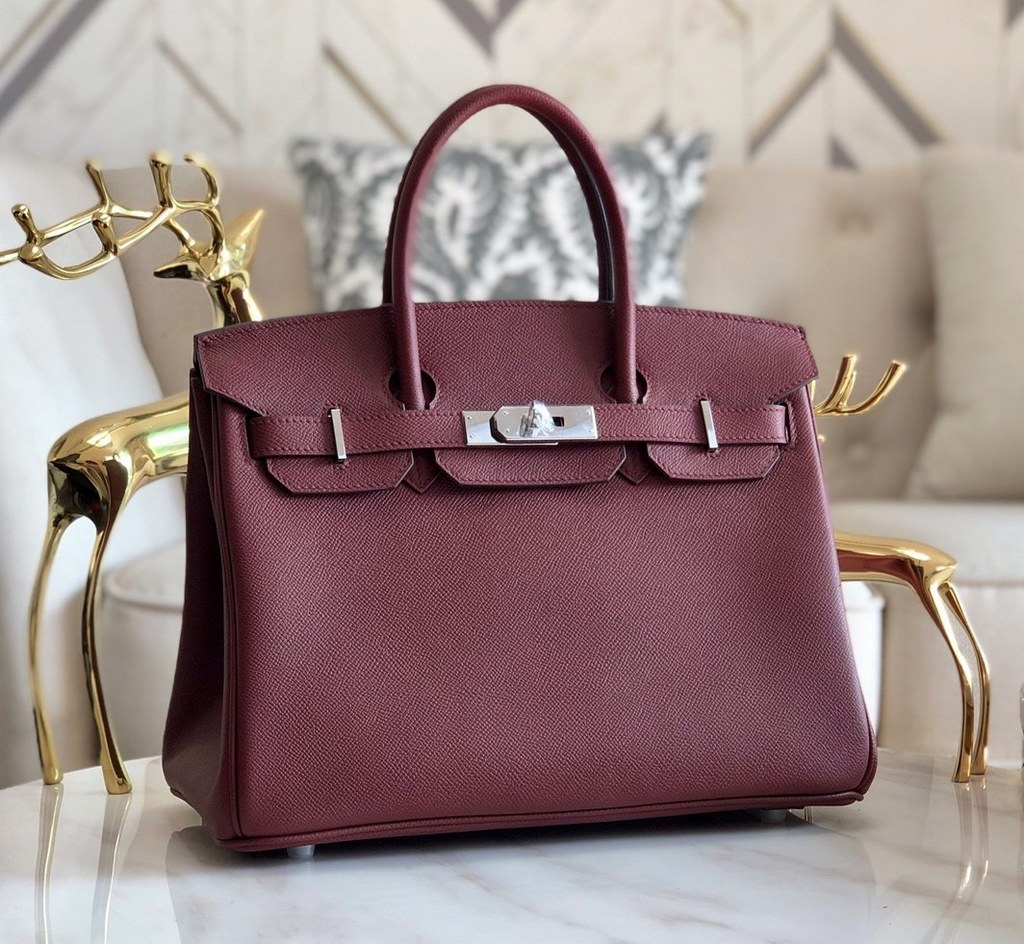 Hermes Birkin 25 Epsom Leather Bag H6068A Wine(Silver Hardware)