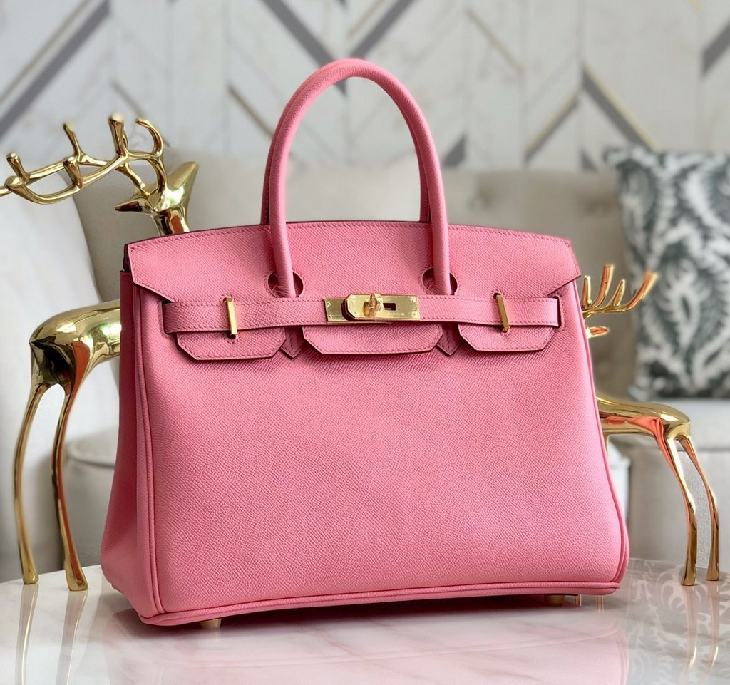 Hermes Birkin 30 Epsom Leather Bag H6088A Cherry Pink(Gold Hardware)