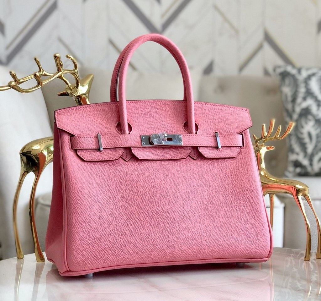 Hermes Birkin 30 Epsom Leather Bag H6088A Cherry Pink(Silver Hardware)