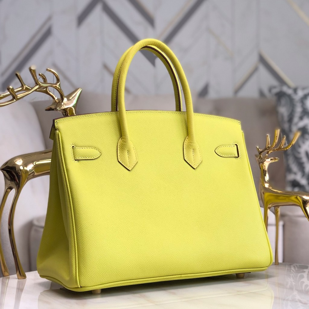 Hermes Birkin 30 Epsom Leather Bag H6088A Lemon(Gold Hardware)